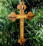 Christian Cross Ornament 3D Wood Christmas Ornaments