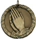 Wreath Medal - Christian Praying Hands Christian Trophies | Christian Awards | Name Badges