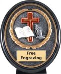 Christian Ebony Oval Trophy Christian Trophies | Christian Awards | Name Badges