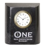 Black Marble Mini Clock Clocks - Desk