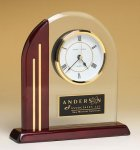 Arched Clock with Rosewood Piano Finish Post and Base Clocks - Desk