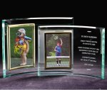 Verticle Crescent Photo Frame Economy Glass Awards
