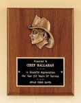 Fireman Award with Antique Bronze Finish Casting. Fire and Safety Plaques