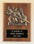 Fireman Plaque with Antique Bronze Finish Casting. Fire and Safety Plaques