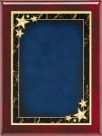 Rosewood Plaque - Blue Star Achievement Piano Finish Rosewood Plaques