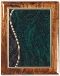 Walnut Gloss Plaque - Green Swirl Piano Finish Walnut Plaques