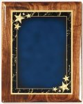 Walnut Gloss Plaque - Blue Star Achievement Piano Finish Walnut Plaques