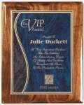 Walnut Gloss Plaque - Blue Swirl Piano Finish Walnut Plaques