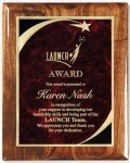 Walnut Gloss Plaque - Red Star Sweep Star Plaques