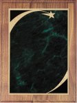 Walnut Plaque - Green Star Sweep Star Plaques