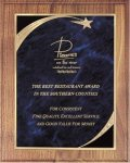 Walnut Plaque - Blue Star Sweep Star Plaques