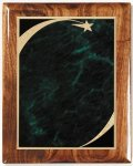 Walnut Gloss Plaque - Green Star Sweep Star Plaques