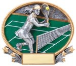 Tennis 3D Oval Trophy (Female) Tennis Trophies